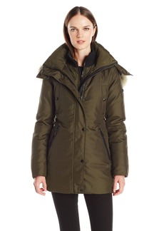 Andrew Marc Women's Sydney 3/4 Length Heavy Jacket With Coyote Fur Lined Hood  S