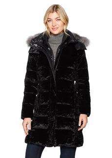 Andrew Marc Women's Valli Velvet Down Long Coat With Real Fox Fur