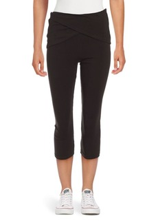Andrew Marc Wrapped-Waist Cropped Leggings