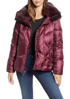Andrew Marc Artistic Puffer Jacket with Removable Genuine Fox Fur Trim
