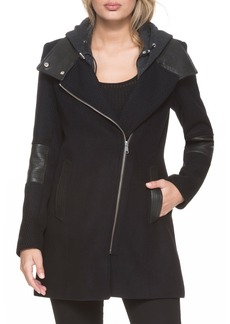 Andrew Marc Asymmetrical Leather Detail Jacket