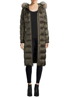 Andrew Marc Dyed Fox Fur Trim Puffer Coat