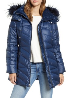 Andrew Marc Faux Fur Trim Puffer Jacket