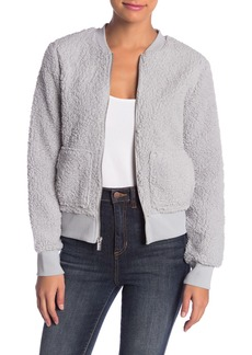 Andrew Marc Faux Shearling Teddy Fleece Bomber Jacket