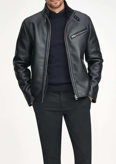 Andrew Marc Flint Faux Leather & Faux Shearling Lined Moto Jacket
