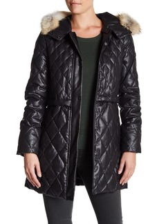 Andrew Marc Genuine Coyote Fur Trim Hood Quilted Ava Parka