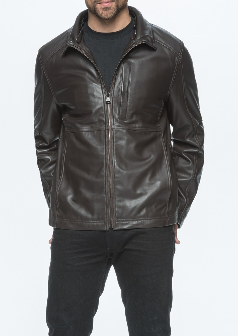 Andrew Marc Lambskin Leather Jacket with Genuine Rabbit Fur Trim