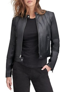 Andrew Marc Lambskin Leather Colorblock Racer Jacket