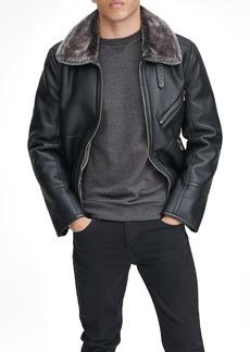Andrew Marc Lenox Faux Shearling Collar Pilot Jacket