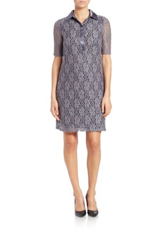 Marc New York Andrew Marc Collared Lace Overlay Dress