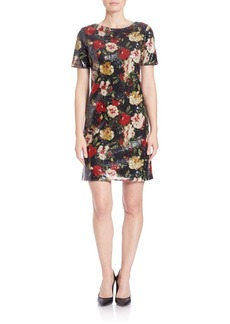 Marc New York Andrew Marc Floral Sequined Shift Dress