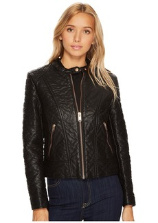 "Marc New York Blakely 21"" Faux Bubble Leather Jacket"