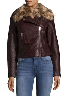 MARC NEW YORK by ANDREW MARC Faux Fur-Trimmed Moto Jacket