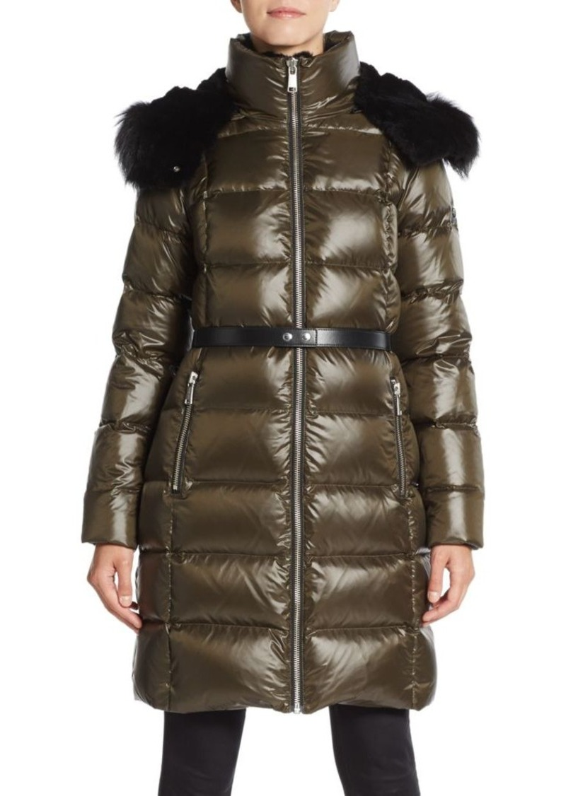 MARC NEW YORK by ANDREW MARC Fox Fur-Trim Belted Walker Puffer Coat