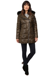 "Marc New York by Andrew Marc Jillian 32"" Laquer Puffer Faux Fur Coat"