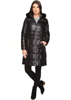 "Marc New York by Andrew Marc Julia 37"" Laquer Puffer Faux Fur Coat"