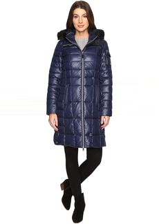 """Marc New York by Andrew Marc Julia 37"""" Laquer Puffer Faux Fur Coat"""