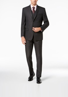 Marc New York by Andrew Marc Men's Modern-Fit Stretch Charcoal Neat Vested Suit