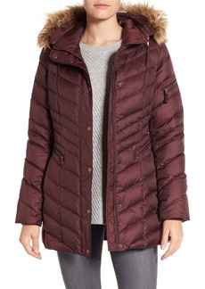 Marc New York by Andrew Marc Quilted Down Jacket with Faux Fur Trim