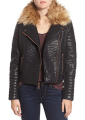 Marc New York by Andrew Marc 'Vanessa' Faux Leather Moto Jacket with Removable Faux Fur Collar