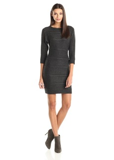Marc New York by Andrew Marc Women's 3/4 Sleeve Cable Sweater Dress