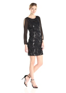 Marc New York by Andrew Marc Women's 3/4 Sleeve Lace Sequin Dress