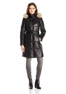 Marc New York by Andrew Marc Women's Abbie Long Laquered Down Coat with Belt  X-Large