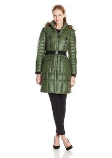Marc New York by Andrew Marc Women's Addy Block Puffer with Belt and Fur Trim
