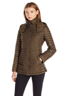 Marc New York by Andrew Marc Women's Alicia Quilt Coat With Felted Trim and Removable Hood  L