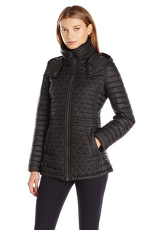 Marc New York by Andrew Marc Women's Alicia Quilt Coat with Felted Trim and Removable Hood  S