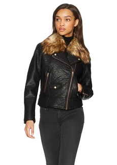 Marc New York by Andrew Marc Women's Beverly Vegan Bubble Leather Jacket