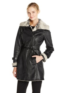 Marc New York by Andrew Marc Women's Brave Heart Belted Faux Shearling Coat
