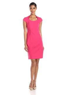Marc New York by Andrew Marc Women's Cap Sleeve V Neck Sheath Dress