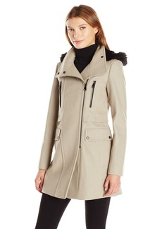 Marc New York by Andrew Marc Women's Carissa Wool 3/4 Length Coat with Removable Faux Fur Hood