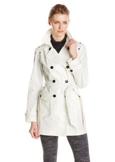 Marc New York by Andrew Marc Women's Coated inen Trench Coat  arge