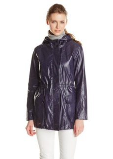Marc New York by Andrew Marc Women's Coated Linen Hooded Anorak