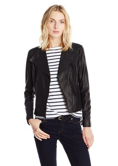 Marc New York by Andrew Marc Women's Felix Asymmetric Leather Jacket  XL