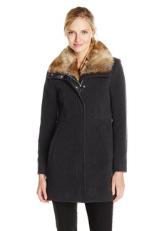 Marc New York by Andrew Marc Women's Haven Wool Coat with Faux Fur Collar