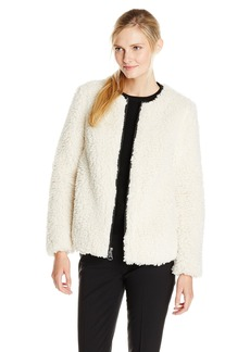 Marc New York by Andrew Marc Women's Jasmine Curly Faux Sherpa Coat  Large