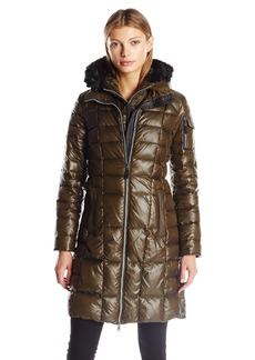 Marc New York by Andrew Marc Women's Julia 3/4 Length Quilted Coat with Fux Fur Removable Hood  M