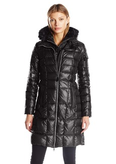 Marc New York by Andrew Marc Women's Julia 3/4 Length Quilted Coat with Fux Fur Removable Hood  XS