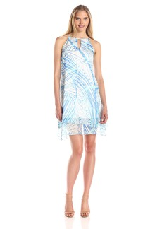 Marc New York by Andrew Marc Women's Leaf Printed Keyhole Dress