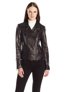 Marc New York by Andrew Marc Women's Leah Asymmetric Leather Jacket with Quilted Sholders  L