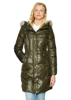 "Marc New York by Andrew Marc Women's Leigh 37"" Lacquer Puffer Jacket"