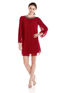 Marc New York by Andrew Marc Women's Long Sleeve Embellished Neck Dress