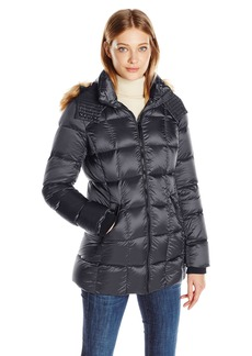 Marc New York by Andrew Marc Women's Maddy Quilted Puffer Jacket with Removable Faux Fur Hood  L