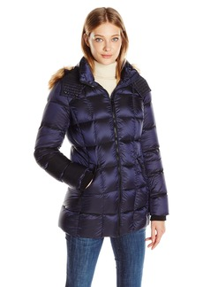 Marc New York by Andrew Marc Women's Maddy Quilted Puffer Jacket with Removable Faux Fur Hood  S