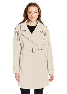 Marc New York by Andrew Marc Women's Mid-Length Belted Trench with Hood