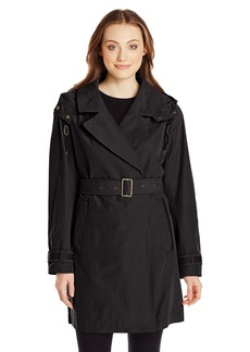 Marc New York by Andrew Marc Women's Mid-ength Belted Trench with Hood  arge