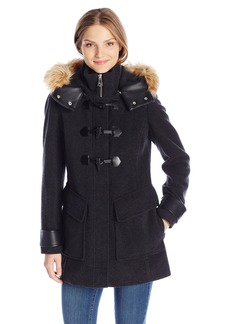 Marc New York by Andrew Marc Women's Paxton Toggle Wool Coat With Faux Fur Lined Hood